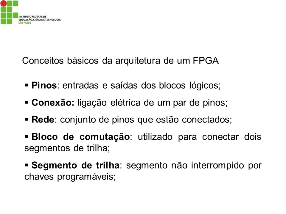 Conceitos básicos da arquitetura de um FPGA