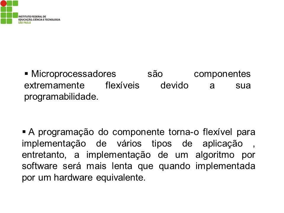 Microprocessadores são componentes extremamente flexíveis devido a sua programabilidade.