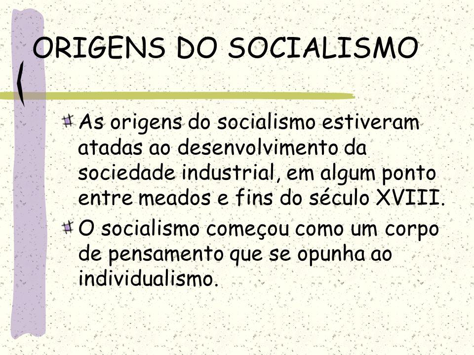 ORIGENS DO SOCIALISMO