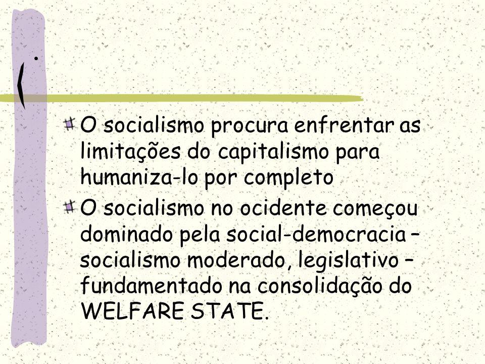 . O socialismo procura enfrentar as limitações do capitalismo para humaniza-lo por completo.