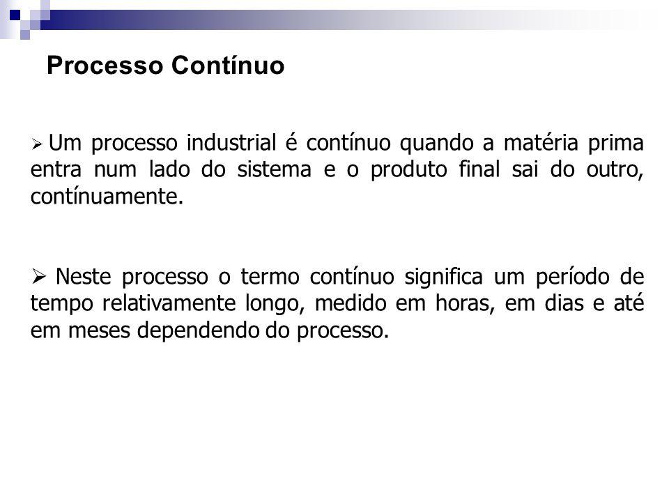 Processo Contínuo Um processo industrial é contínuo quando a matéria prima entra num lado do sistema e o produto final sai do outro, contínuamente.