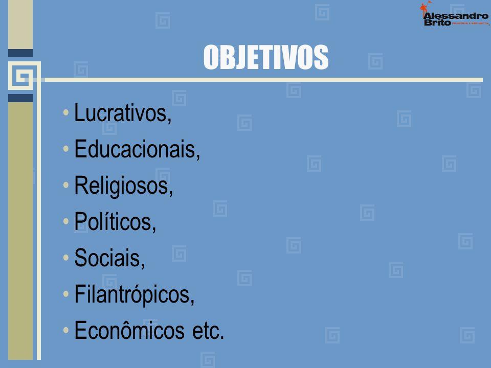 OBJETIVOS Lucrativos, Educacionais, Religiosos, Políticos, Sociais,