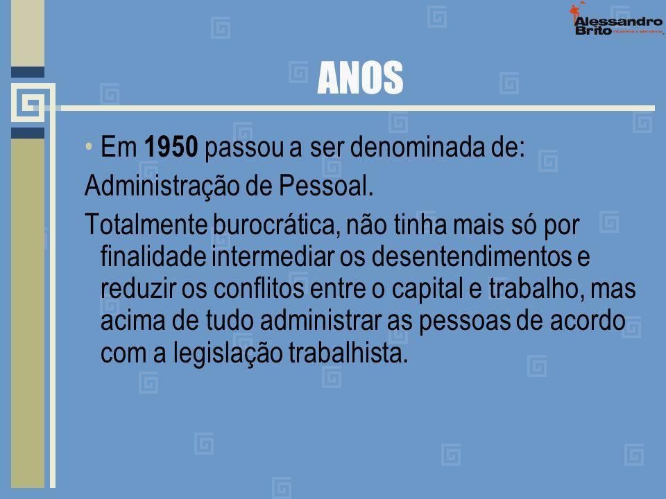 ANOS Em 1950 passou a ser denominada de: Administração de Pessoal.