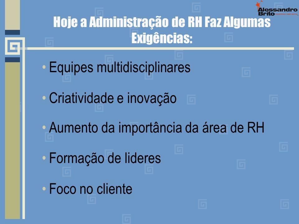 Hoje a Administração de RH Faz Algumas Exigências: