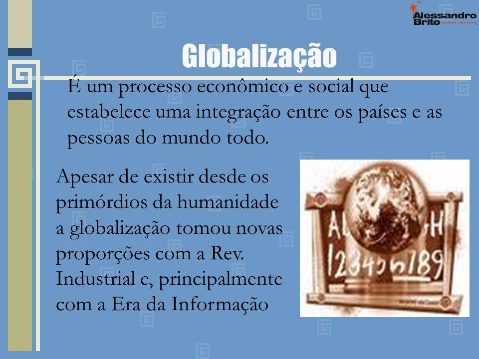 GlobalizaçãoÉ um processo econômico e social que estabelece uma integração entre os países e as pessoas do mundo todo.