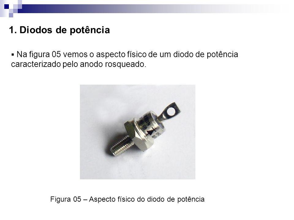 1. Diodos de potência Na figura 05 vemos o aspecto físico de um diodo de potência caracterizado pelo anodo rosqueado.