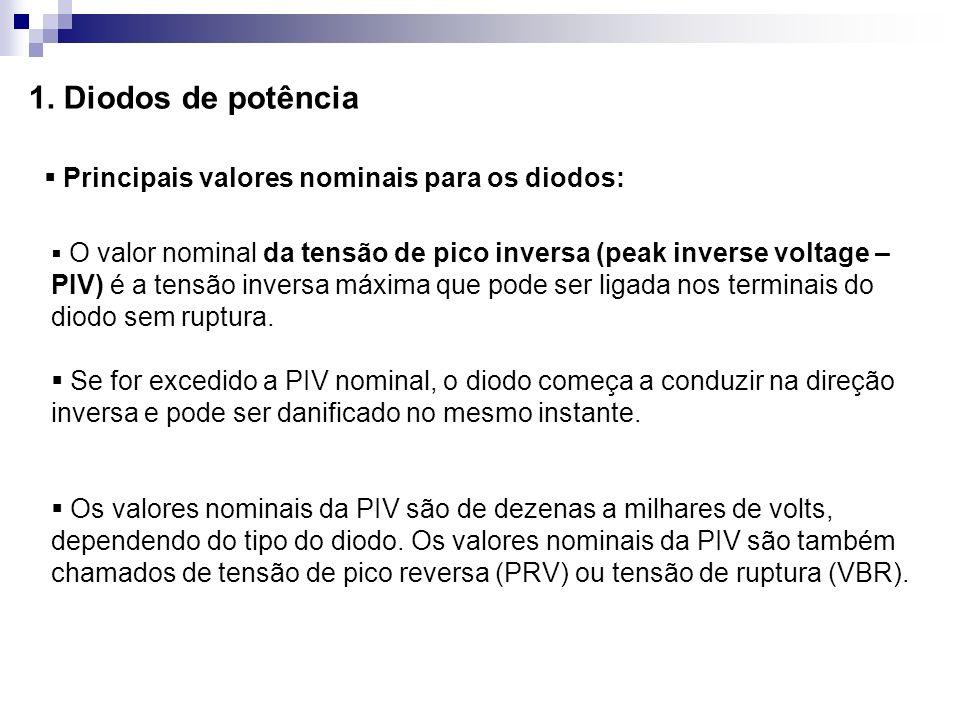 1. Diodos de potência Principais valores nominais para os diodos: