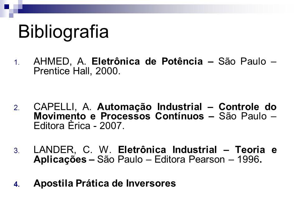 Bibliografia AHMED, A. Eletrônica de Potência – São Paulo – Prentice Hall, 2000.