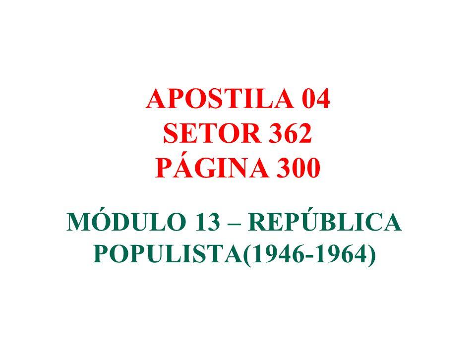 MÓDULO 13 – REPÚBLICA POPULISTA(1946-1964)
