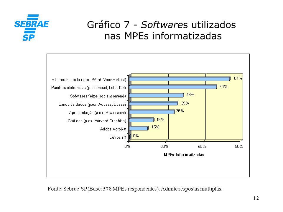 Gráfico 7 - Softwares utilizados nas MPEs informatizadas