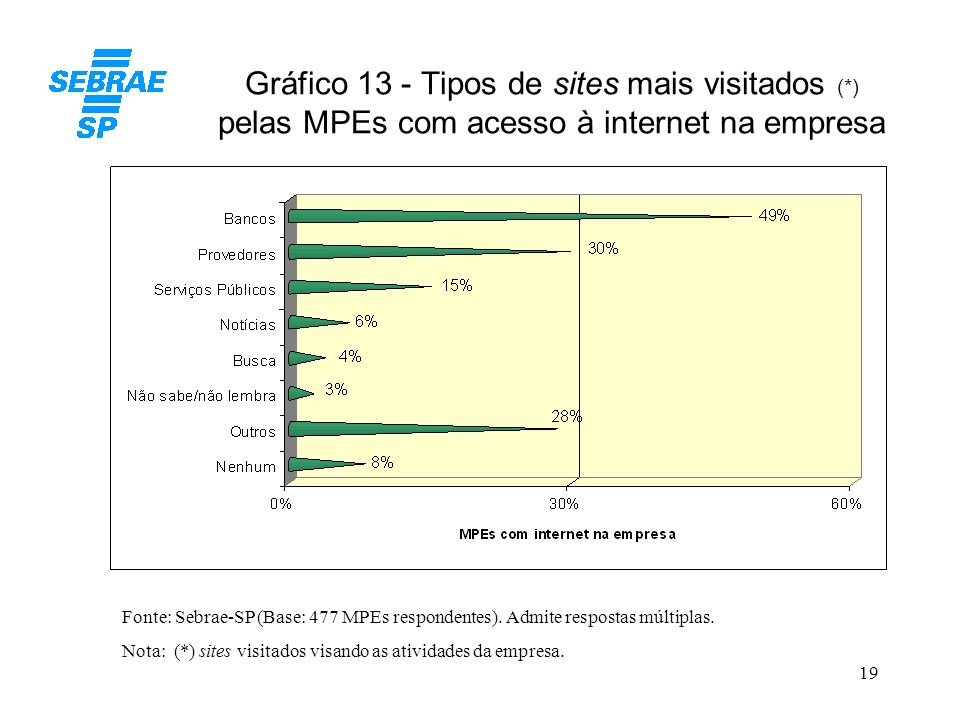 Gráfico 13 - Tipos de sites mais visitados (
