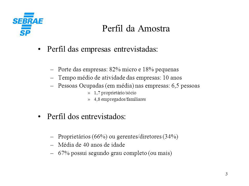 Perfil da Amostra Perfil das empresas entrevistadas: