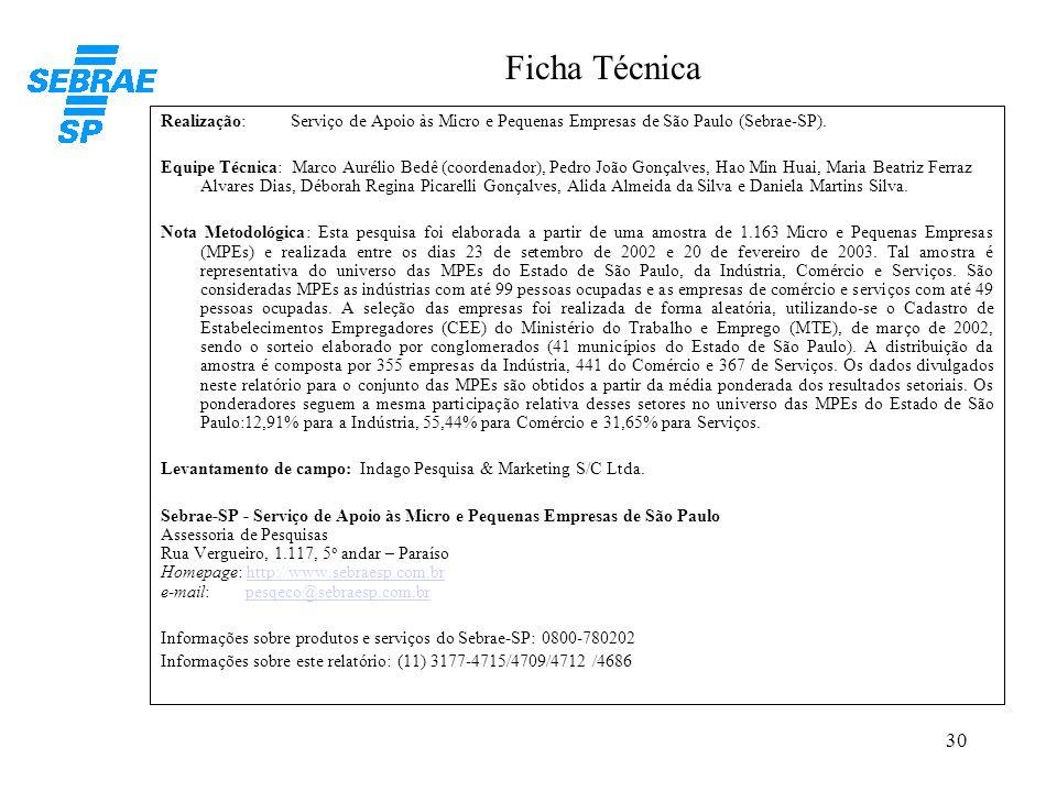 Ficha TécnicaRealização: Serviço de Apoio às Micro e Pequenas Empresas de São Paulo (Sebrae-SP).