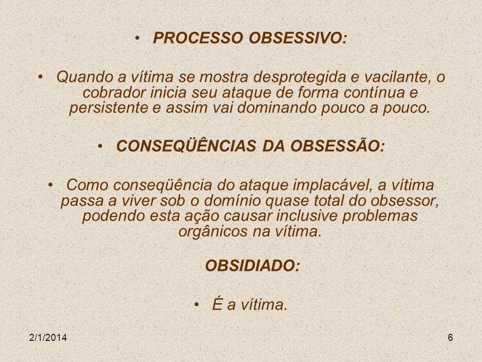 CONSEQÜÊNCIAS DA OBSESSÃO: