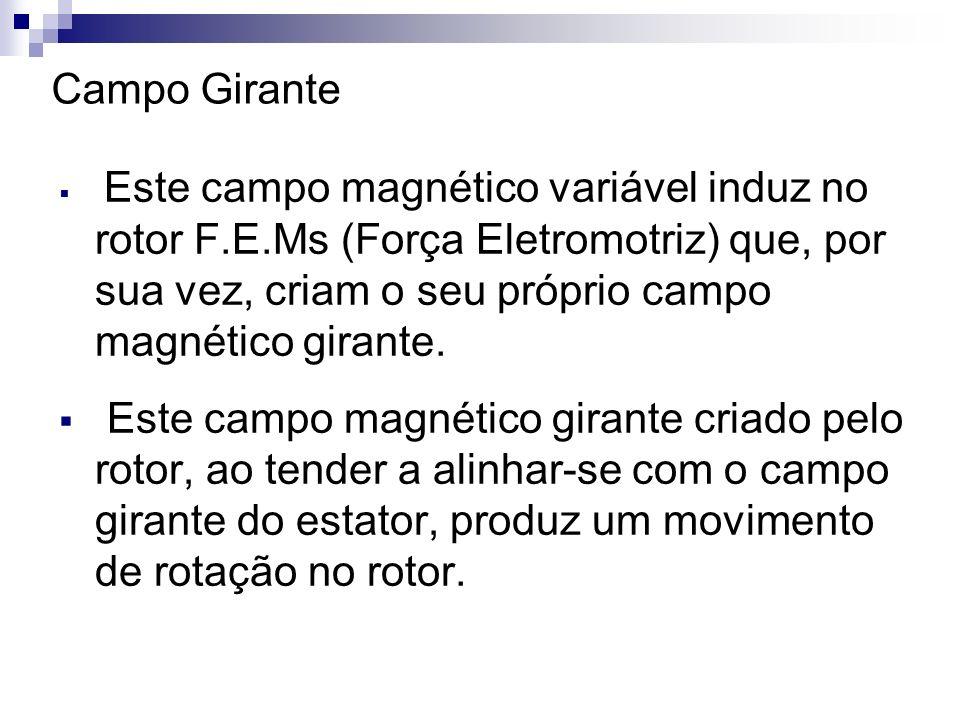 Campo GiranteEste campo magnético variável induz no rotor F.E.Ms (Força Eletromotriz) que, por sua vez, criam o seu próprio campo magnético girante.