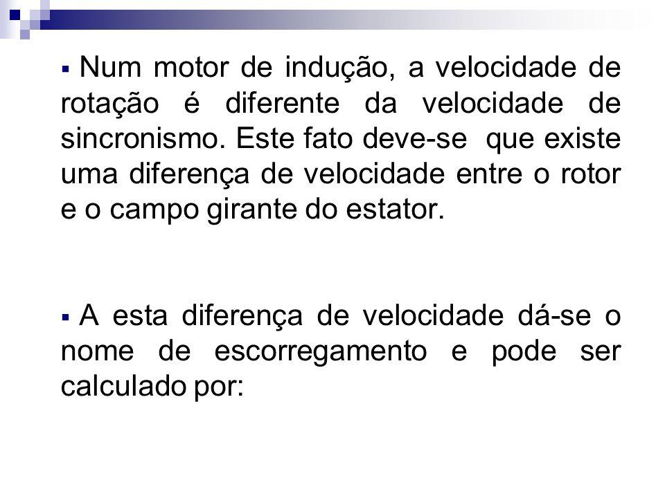 Num motor de indução, a velocidade de rotação é diferente da velocidade de sincronismo. Este fato deve-se que existe uma diferença de velocidade entre o rotor e o campo girante do estator.