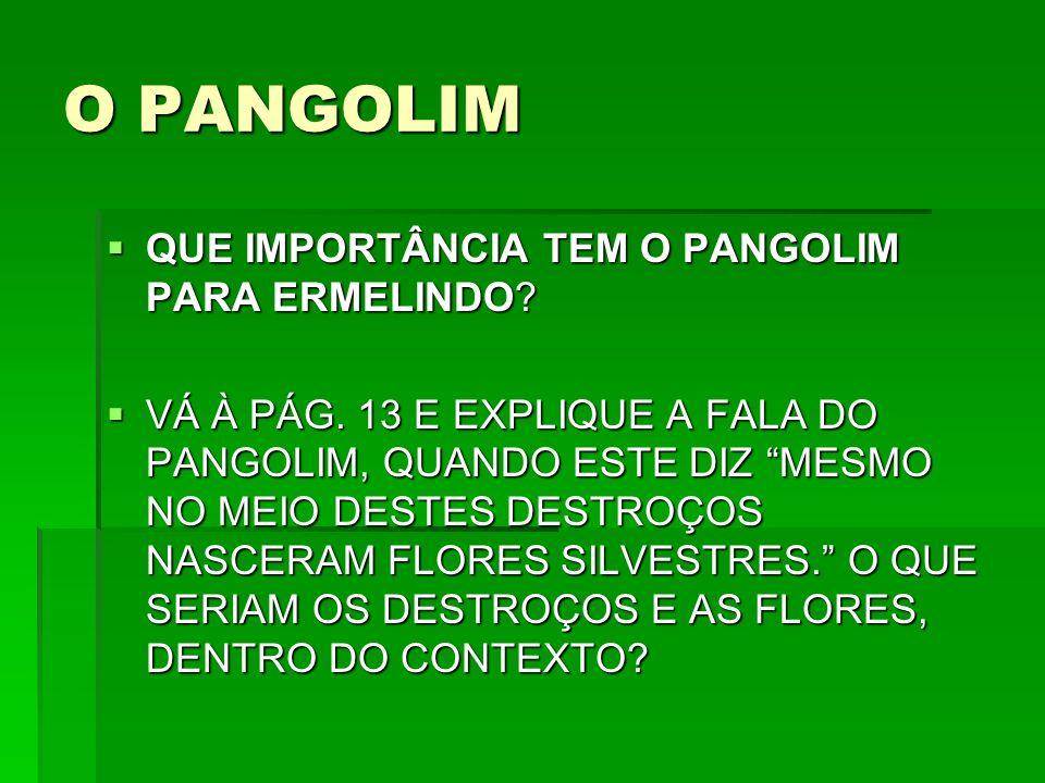 O PANGOLIM QUE IMPORTÂNCIA TEM O PANGOLIM PARA ERMELINDO