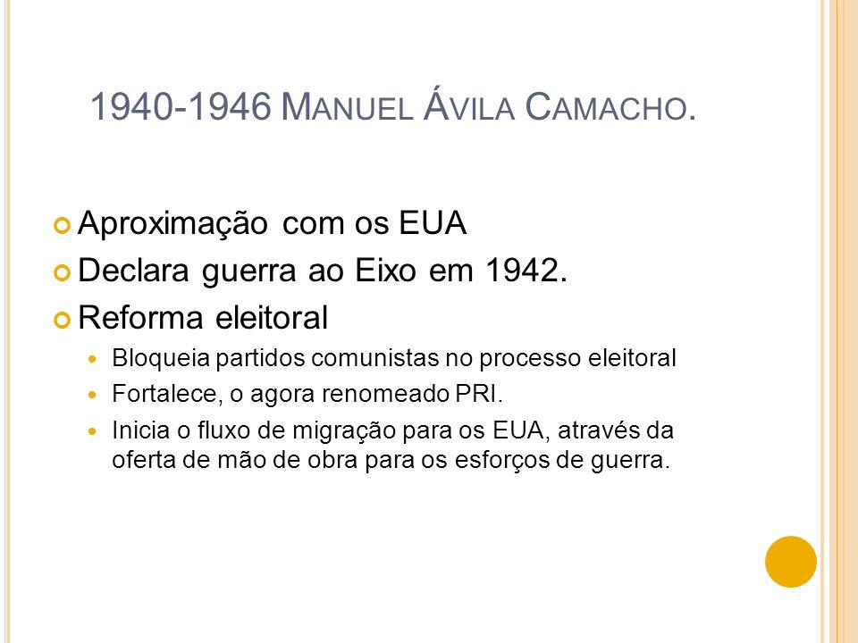 1940-1946 Manuel Ávila Camacho. Aproximação com os EUA