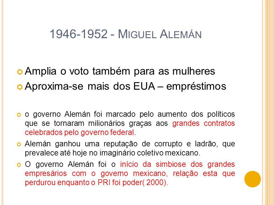 1946-1952 - Miguel Alemán Amplia o voto também para as mulheres