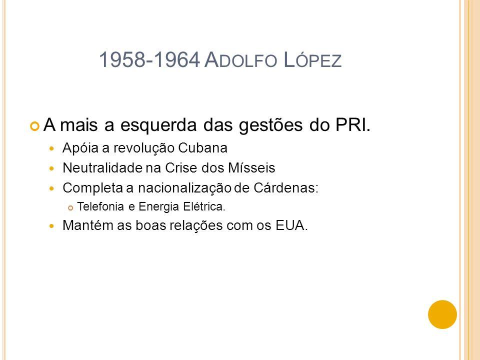 1958-1964 Adolfo López A mais a esquerda das gestões do PRI.