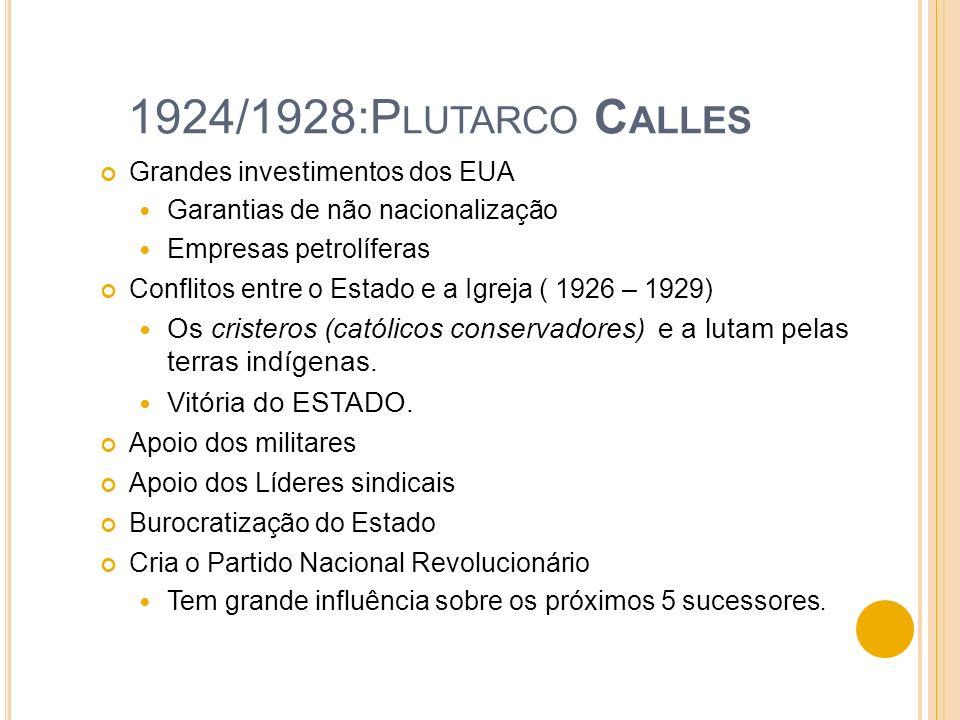 1924/1928:Plutarco Calles Grandes investimentos dos EUA. Garantias de não nacionalização. Empresas petrolíferas.