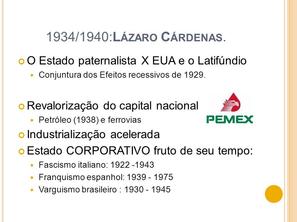 1934/1940:Lázaro Cárdenas. O Estado paternalista X EUA e o Latifúndio