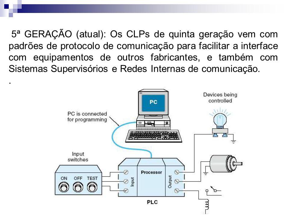 5ª GERAÇÃO (atual): Os CLPs de quinta geração vem com padrões de protocolo de comunicação para facilitar a interface com equipamentos de outros fabricantes, e também com Sistemas Supervisórios e Redes Internas de comunicação.