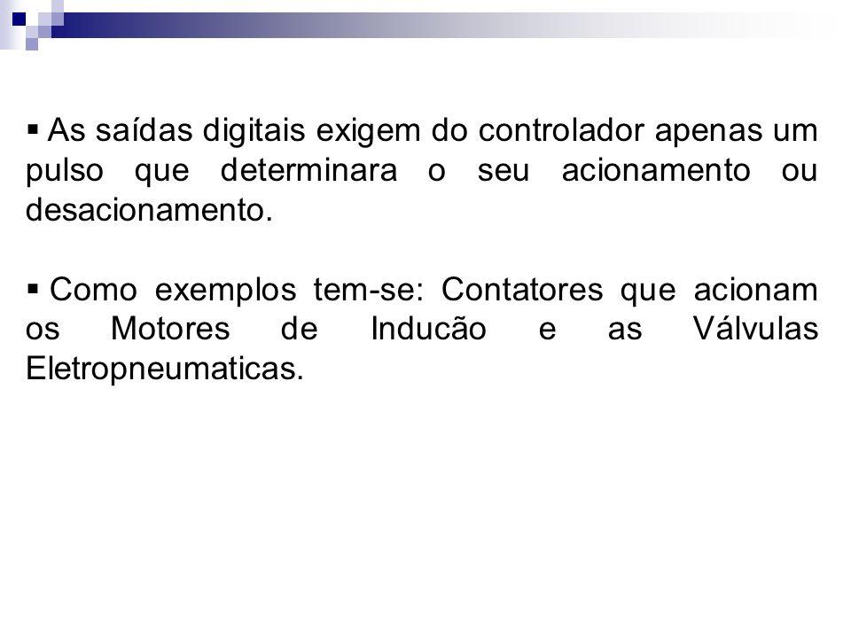 As saídas digitais exigem do controlador apenas um pulso que determinara o seu acionamento ou desacionamento.