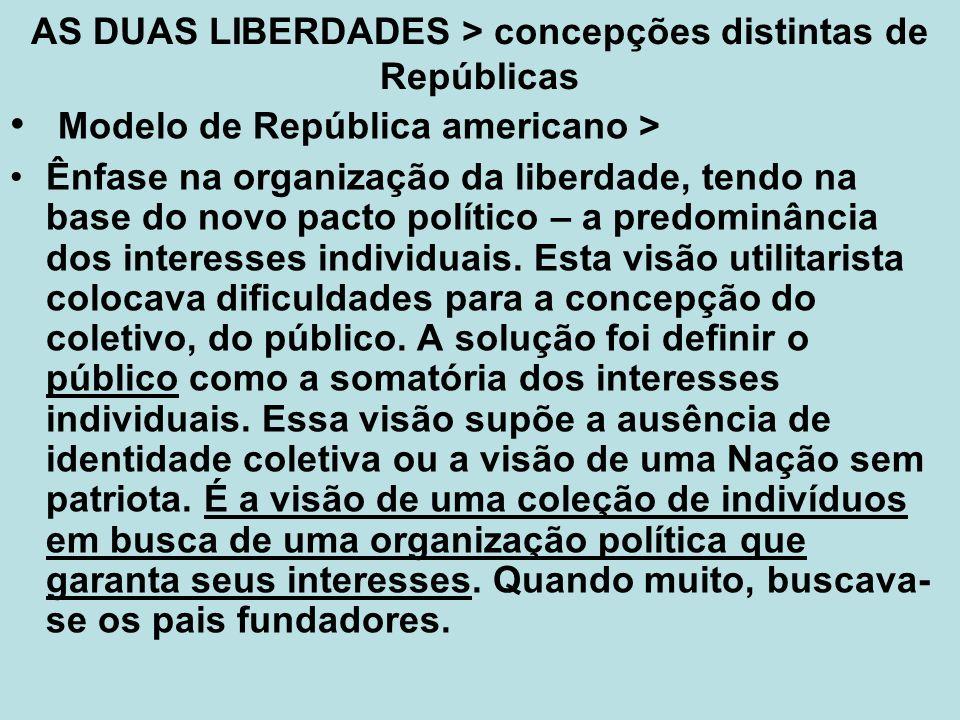 AS DUAS LIBERDADES > concepções distintas de Repúblicas