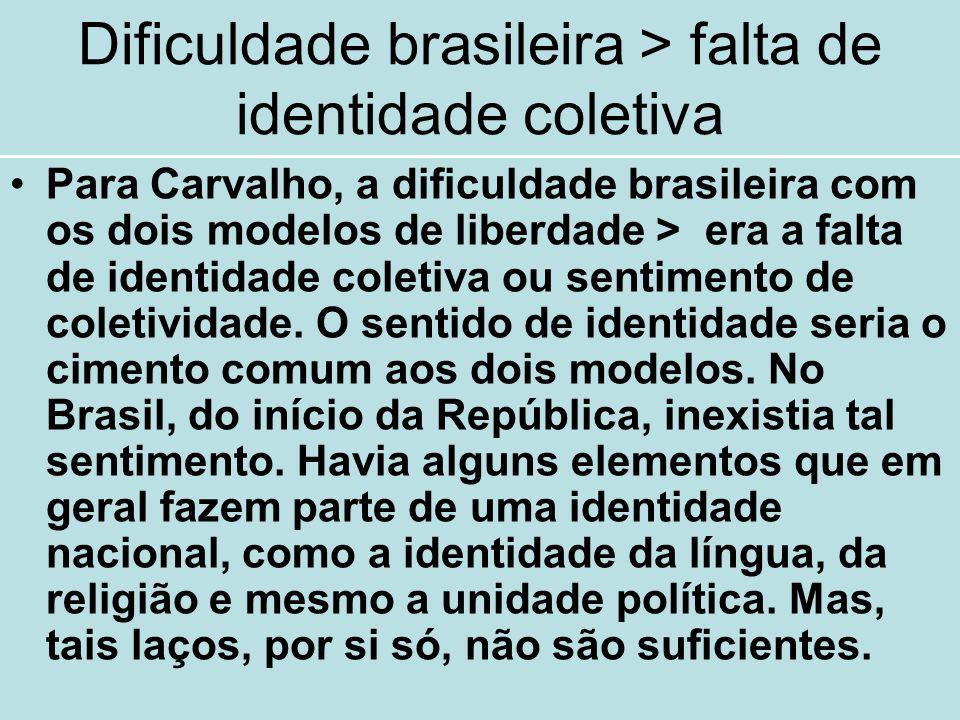 Dificuldade brasileira > falta de identidade coletiva