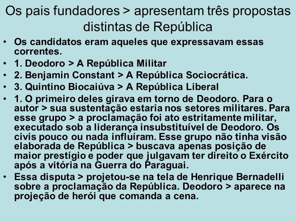Os pais fundadores > apresentam três propostas distintas de República