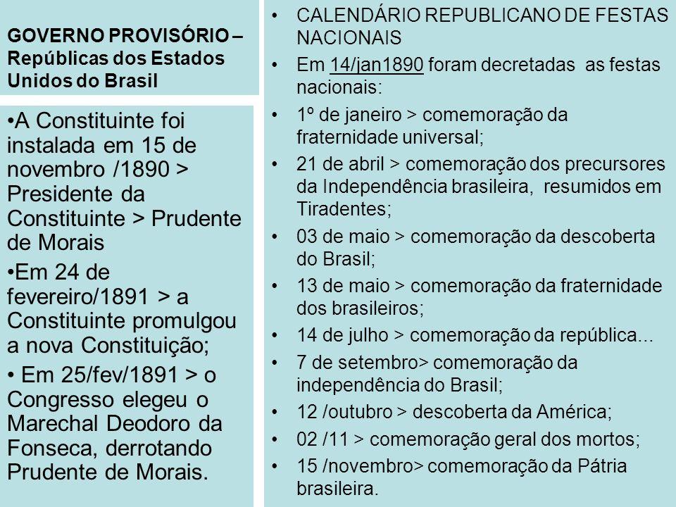 GOVERNO PROVISÓRIO – Repúblicas dos Estados Unidos do Brasil