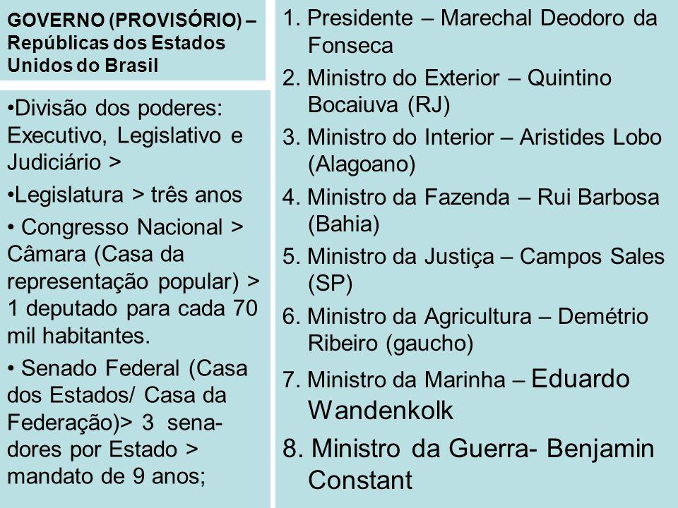 GOVERNO (PROVISÓRIO) – Repúblicas dos Estados Unidos do Brasil