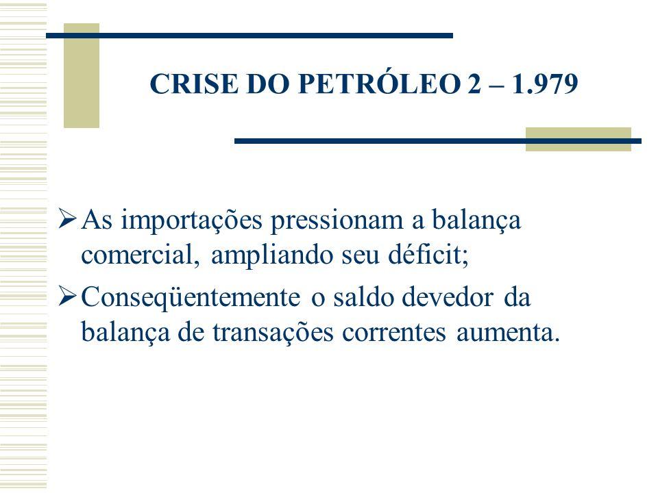 CRISE DO PETRÓLEO 2 – 1.979 As importações pressionam a balança comercial, ampliando seu déficit;