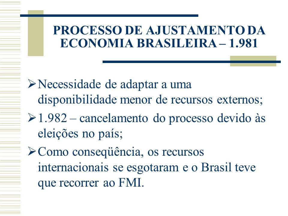 PROCESSO DE AJUSTAMENTO DA ECONOMIA BRASILEIRA – 1.981