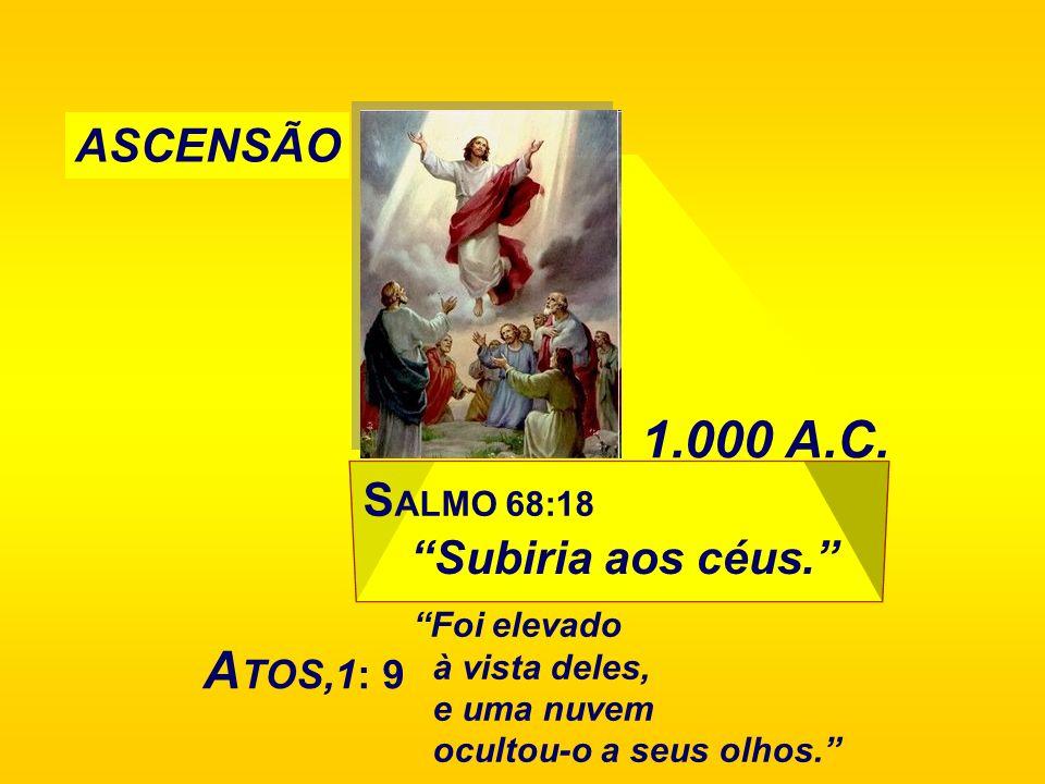 1.000 A.C. ATOS,1: 9 ASCENSÃO Subiria aos céus. SALMO 68:18
