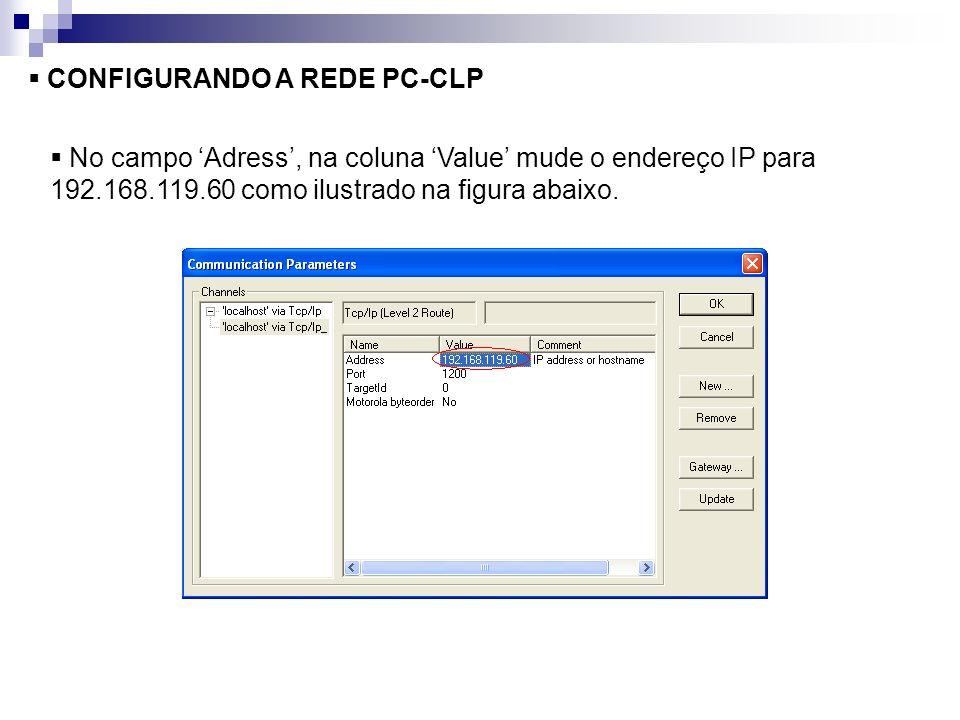 CONFIGURANDO A REDE PC-CLP