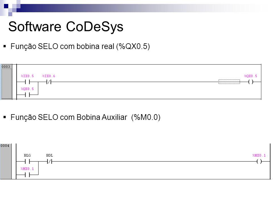 Software CoDeSys Função SELO com bobina real (%QX0.5)