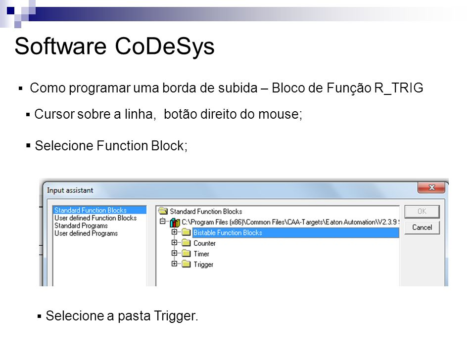 Software CoDeSys Selecione Function Block;