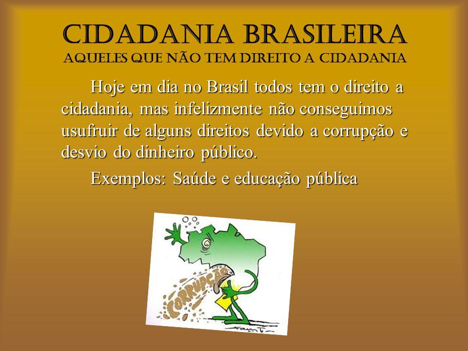 CIDADANIA BRASILEIRA Aqueles que não tem direito a cidadania