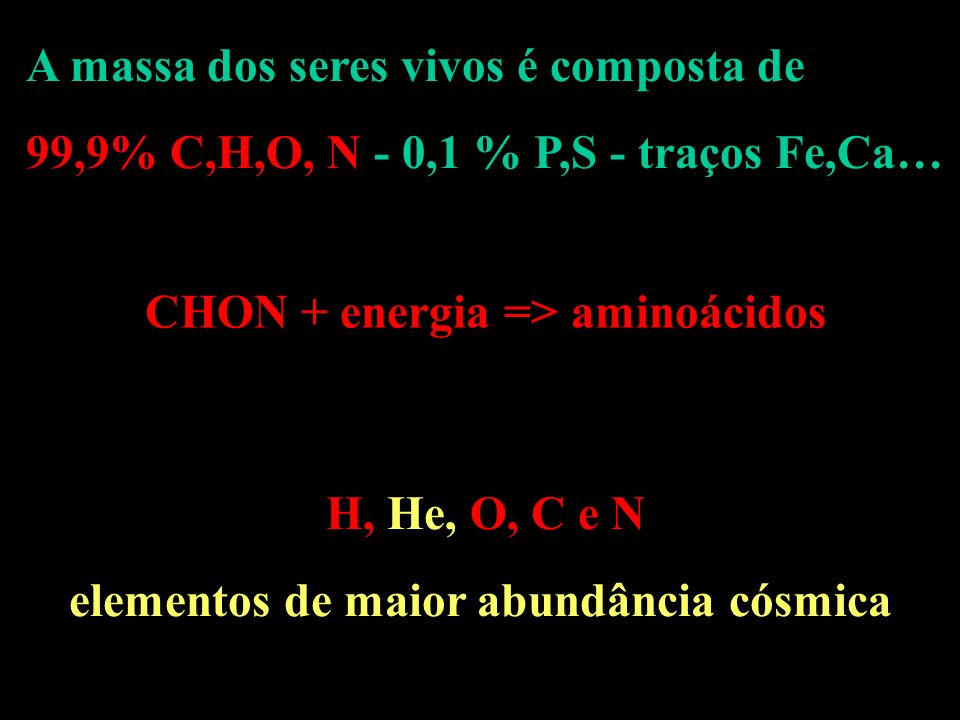CHON + energia => aminoácidos elementos de maior abundância cósmica