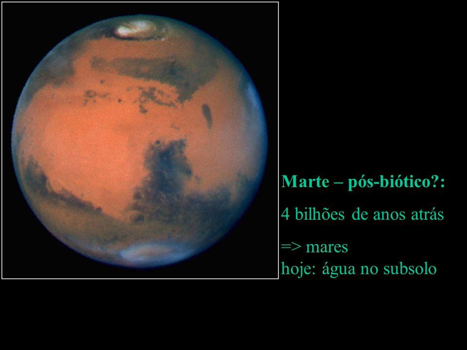 Marte – pós-biótico : 4 bilhões de anos atrás.