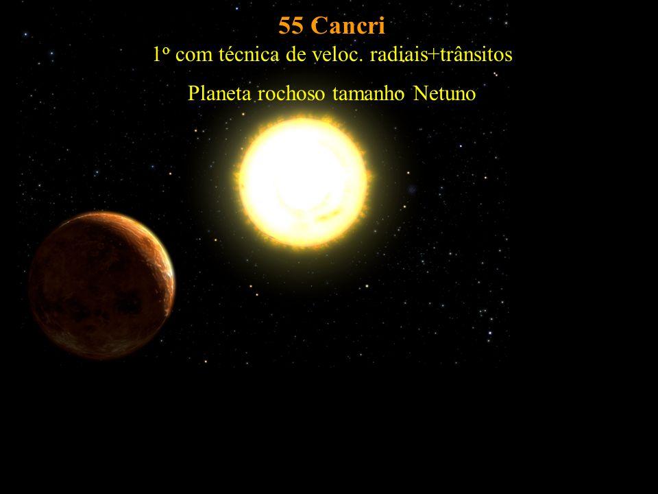 55 Cancri 1o com técnica de veloc. radiais+trânsitos