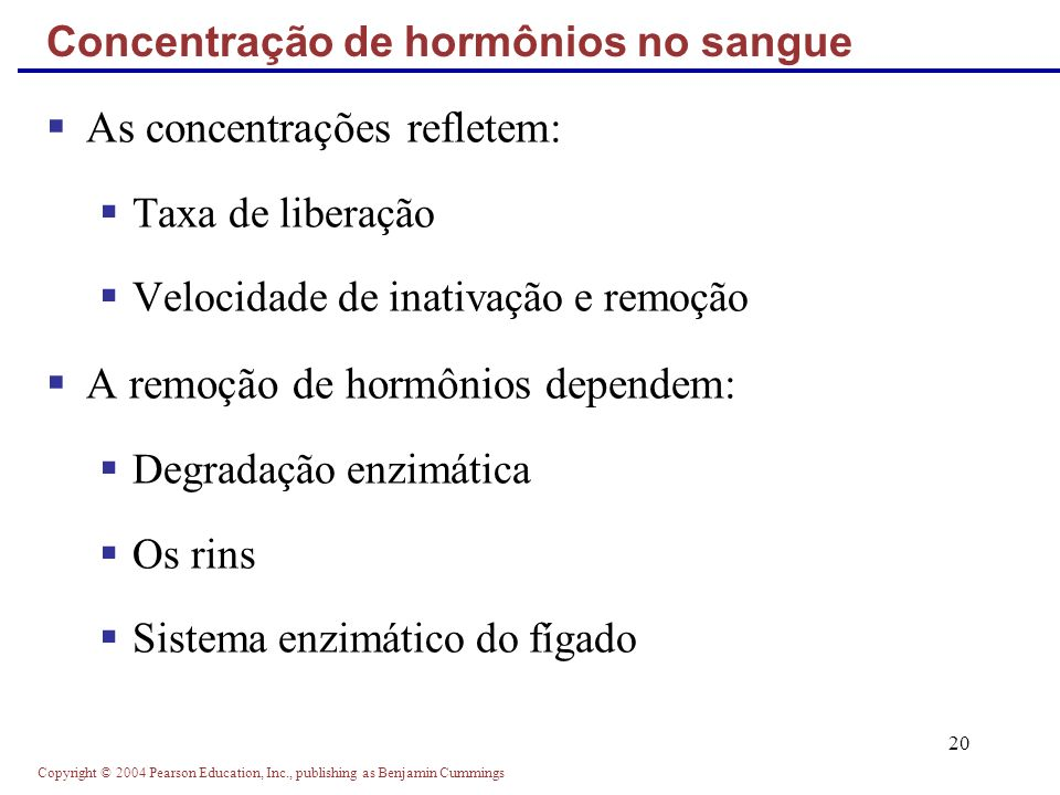 Concentração de hormônios no sangue