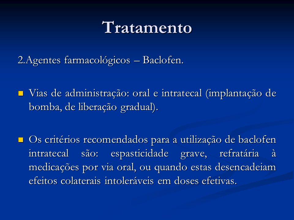 Tratamento 2.Agentes farmacológicos – Baclofen.