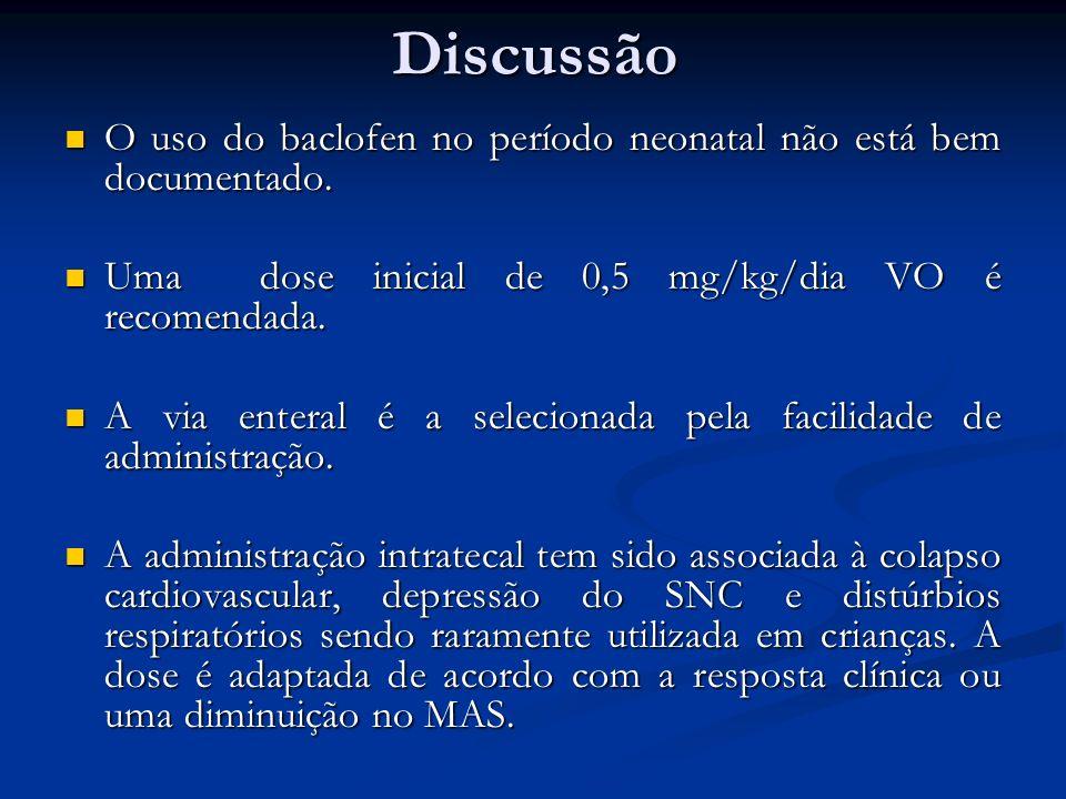 Discussão O uso do baclofen no período neonatal não está bem documentado. Uma dose inicial de 0,5 mg/kg/dia VO é recomendada.