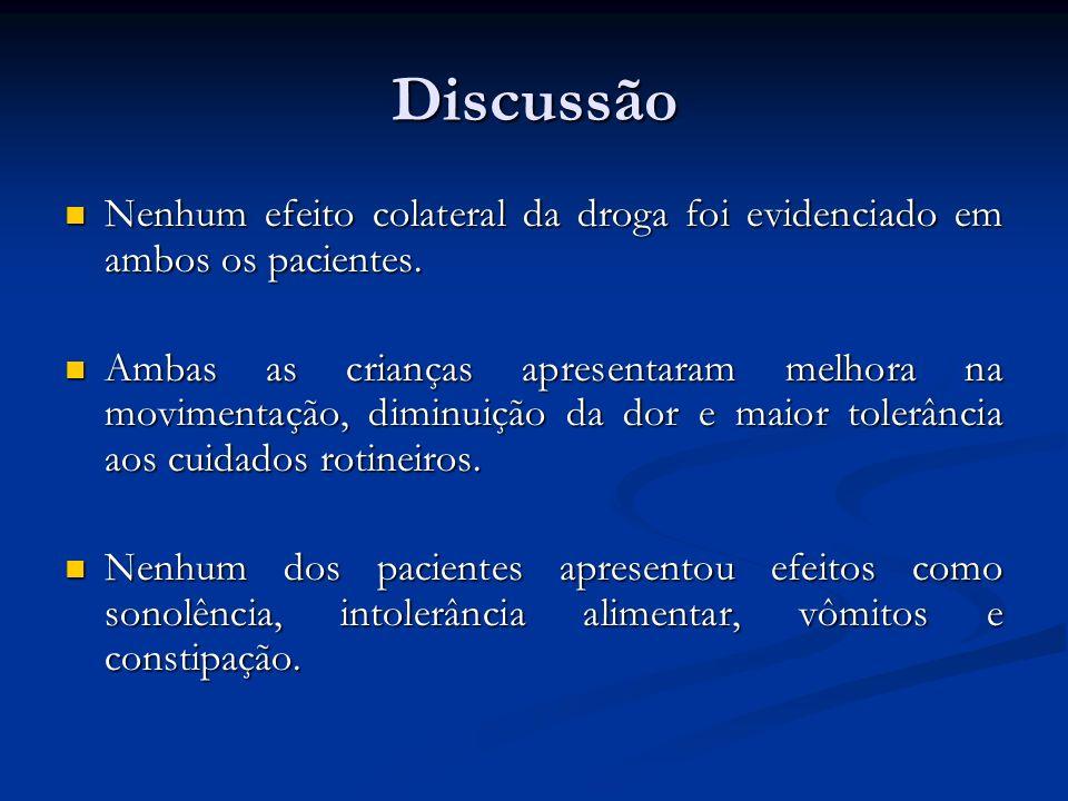 Discussão Nenhum efeito colateral da droga foi evidenciado em ambos os pacientes.