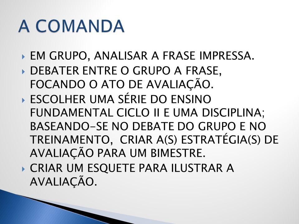 A COMANDA EM GRUPO, ANALISAR A FRASE IMPRESSA.