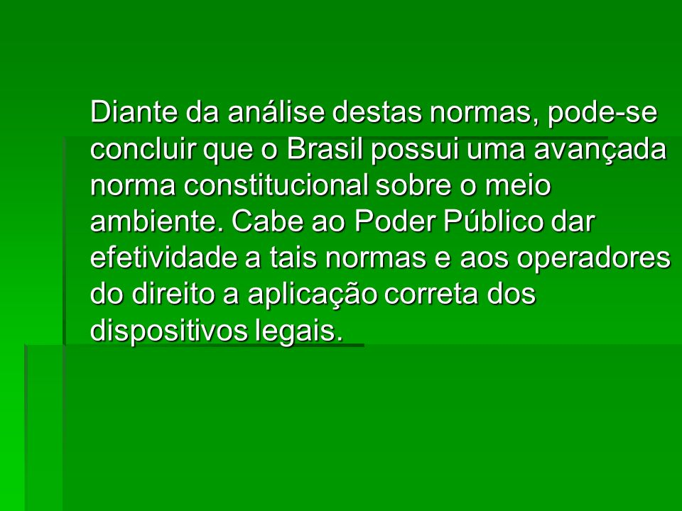 Diante da análise destas normas, pode-se concluir que o Brasil possui uma avançada norma constitucional sobre o meio ambiente.