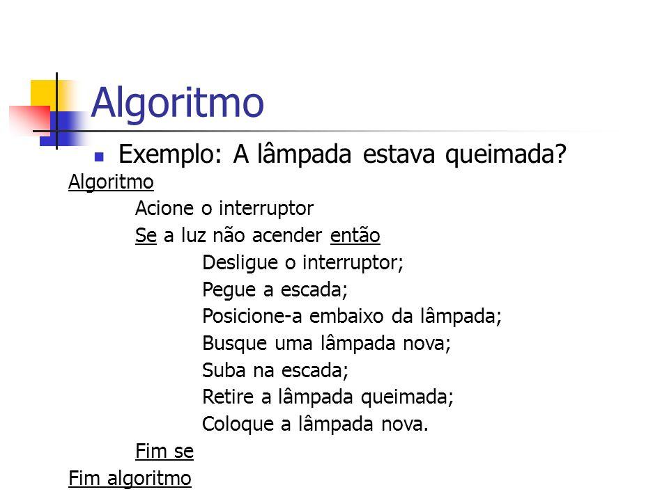 Algoritmo Exemplo: A lâmpada estava queimada Algoritmo